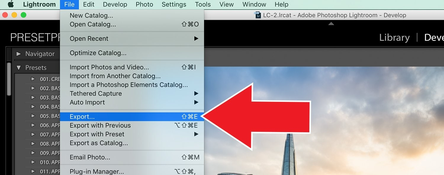 Export Your Images with Presets - Lightroom Tutorial 1