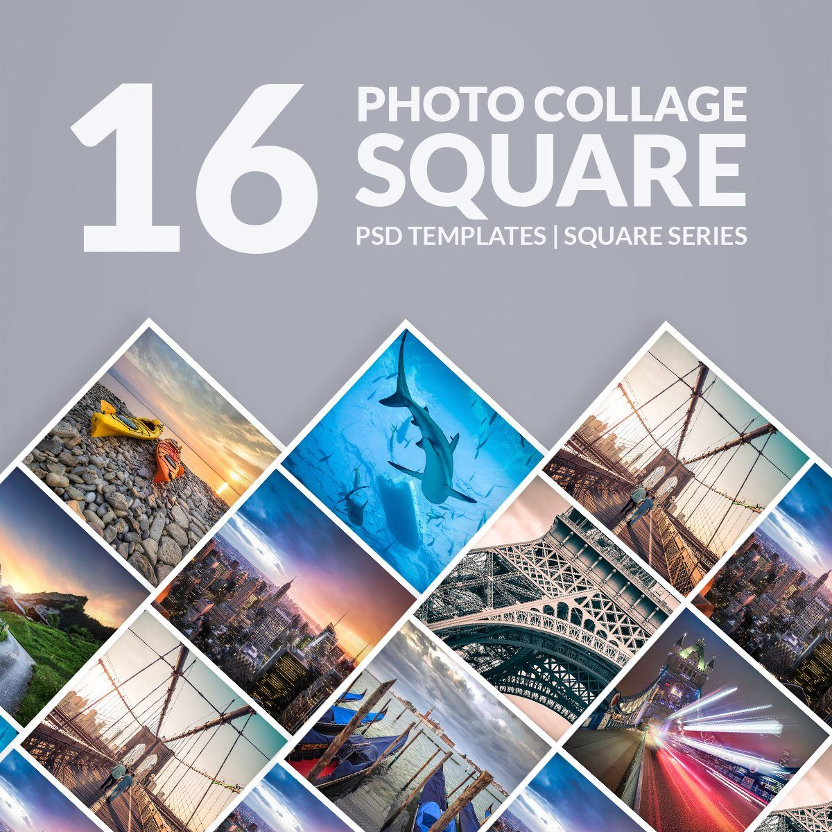 Presetpro Photoshop Templates Photo Collage Square Series