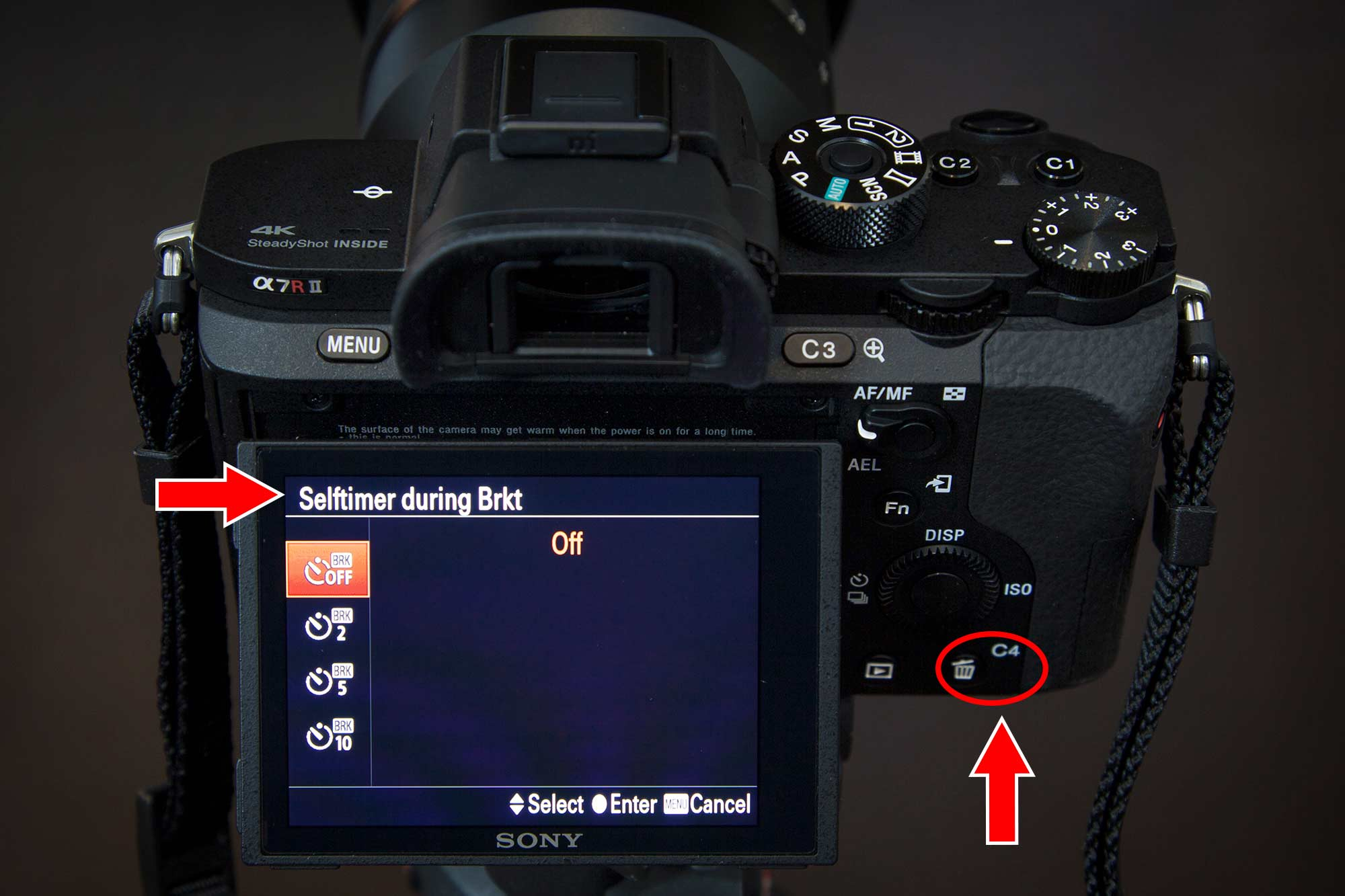 Sony a7r ii Customize Your Buttons Self Timer During Bracketing