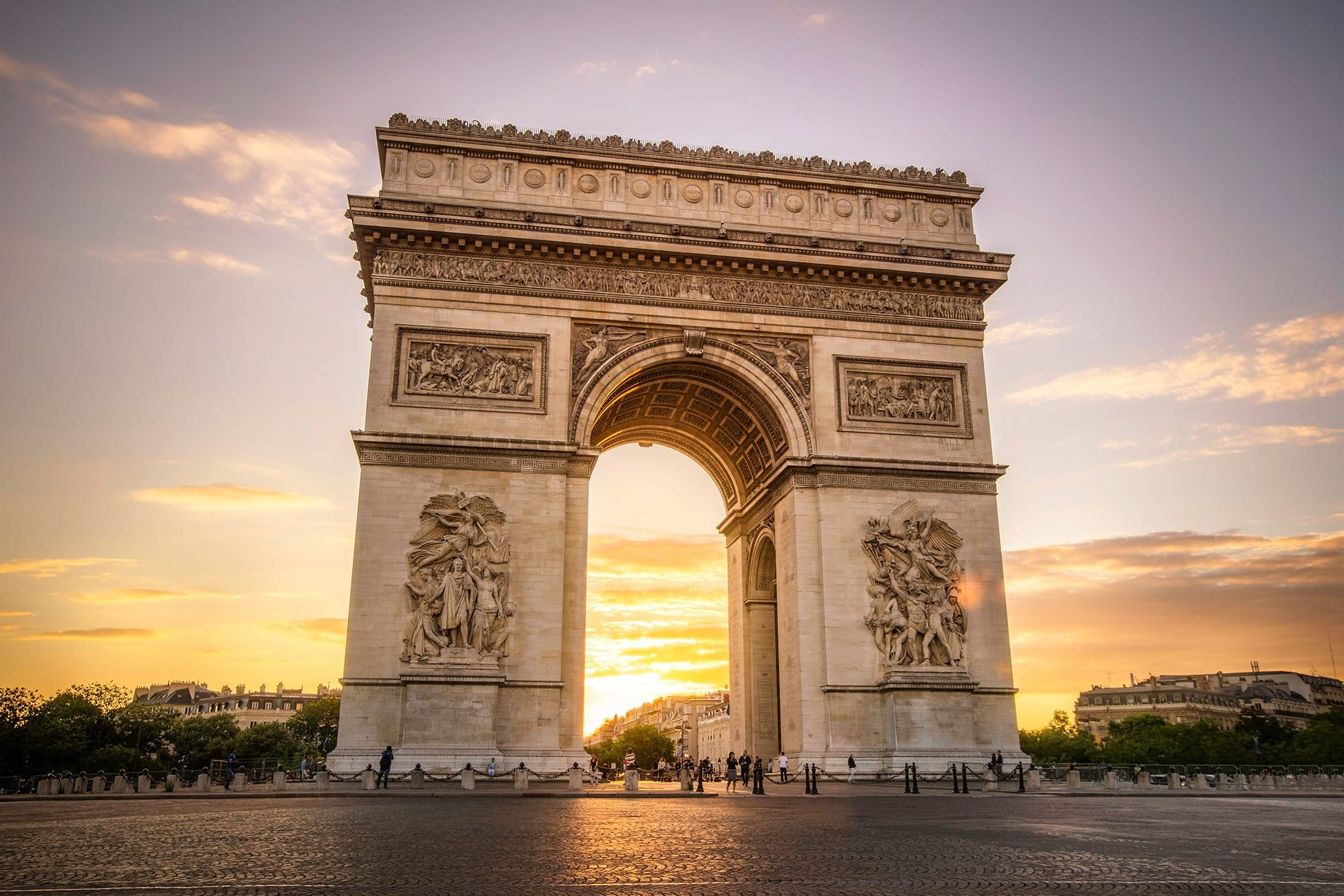 hdr photography arc de triomphe at sunset. Black Bedroom Furniture Sets. Home Design Ideas