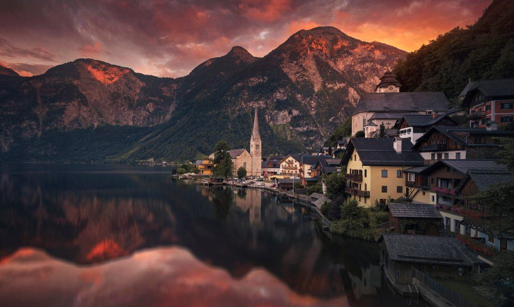 HDR Photography Dusk in Hallstatt Austria