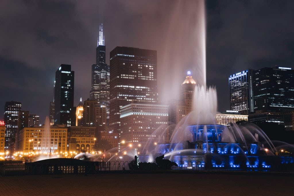 Film Emulation Lightroom Preset - Chicago Fountain Nightscape Photography