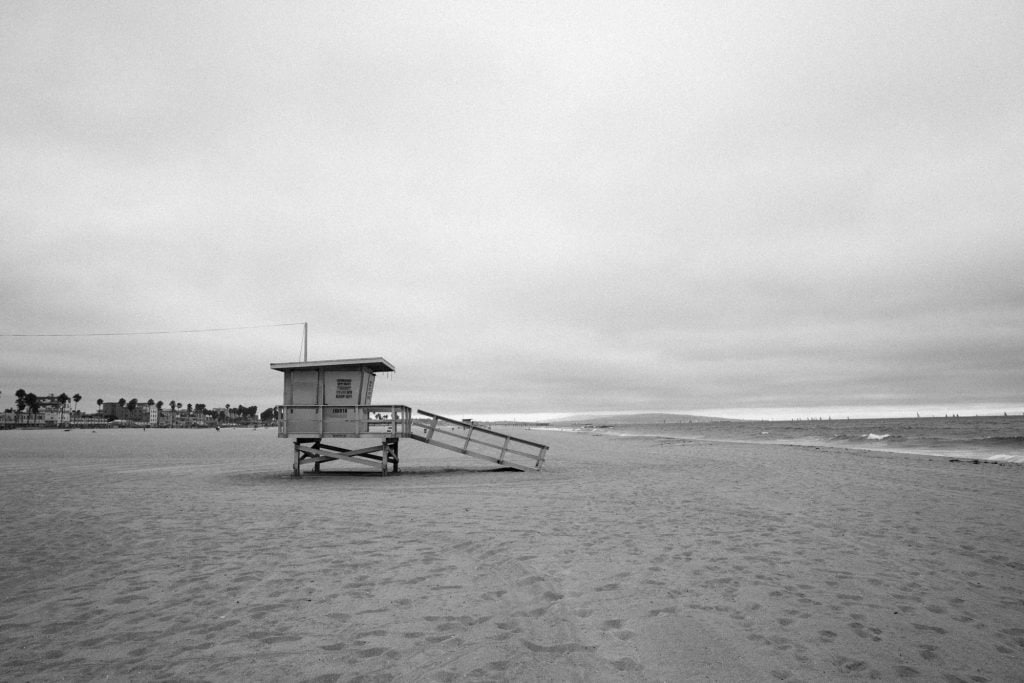 Film Emulation Lightroom Presets - Venice Beach Lifeguard Tower Black and White Image