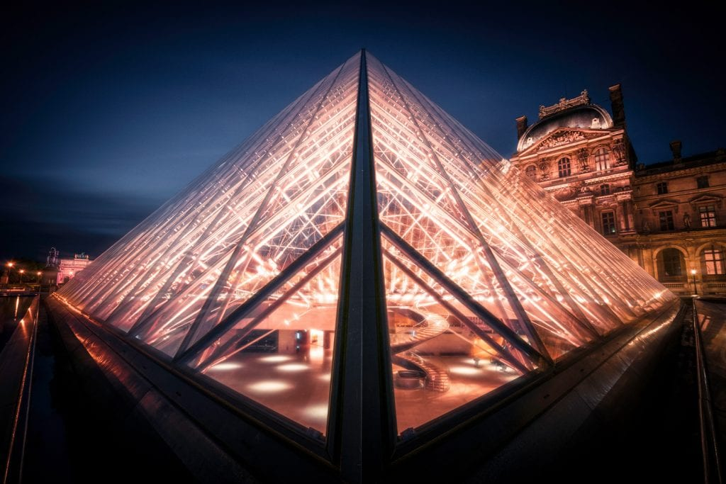 HDR Photography - looking into the Louvre, Paris at Night