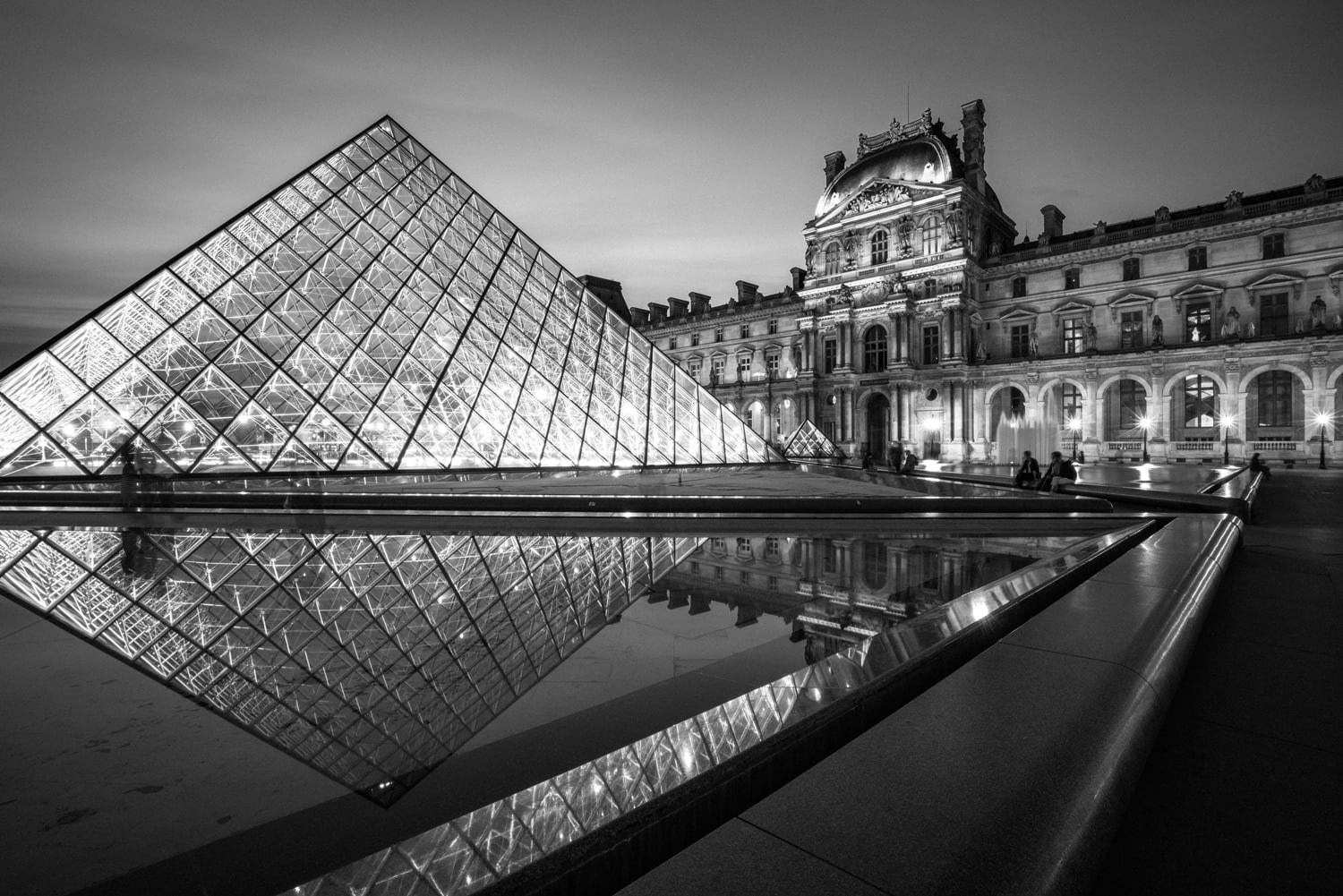 Black and White Photography Paris Louvre at Night