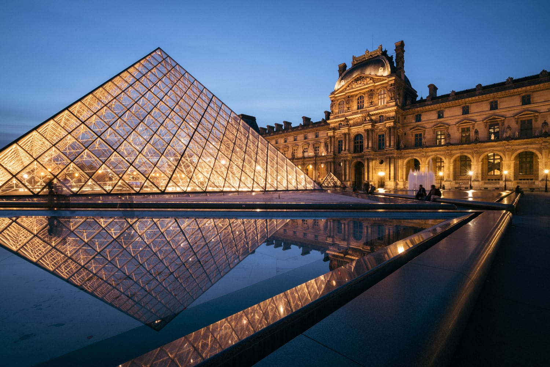 Film Photography Paris Louvre at Night